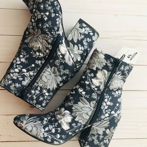 Merona Shoes - Merona Denim Blue Arie Jacquard Floral Booties